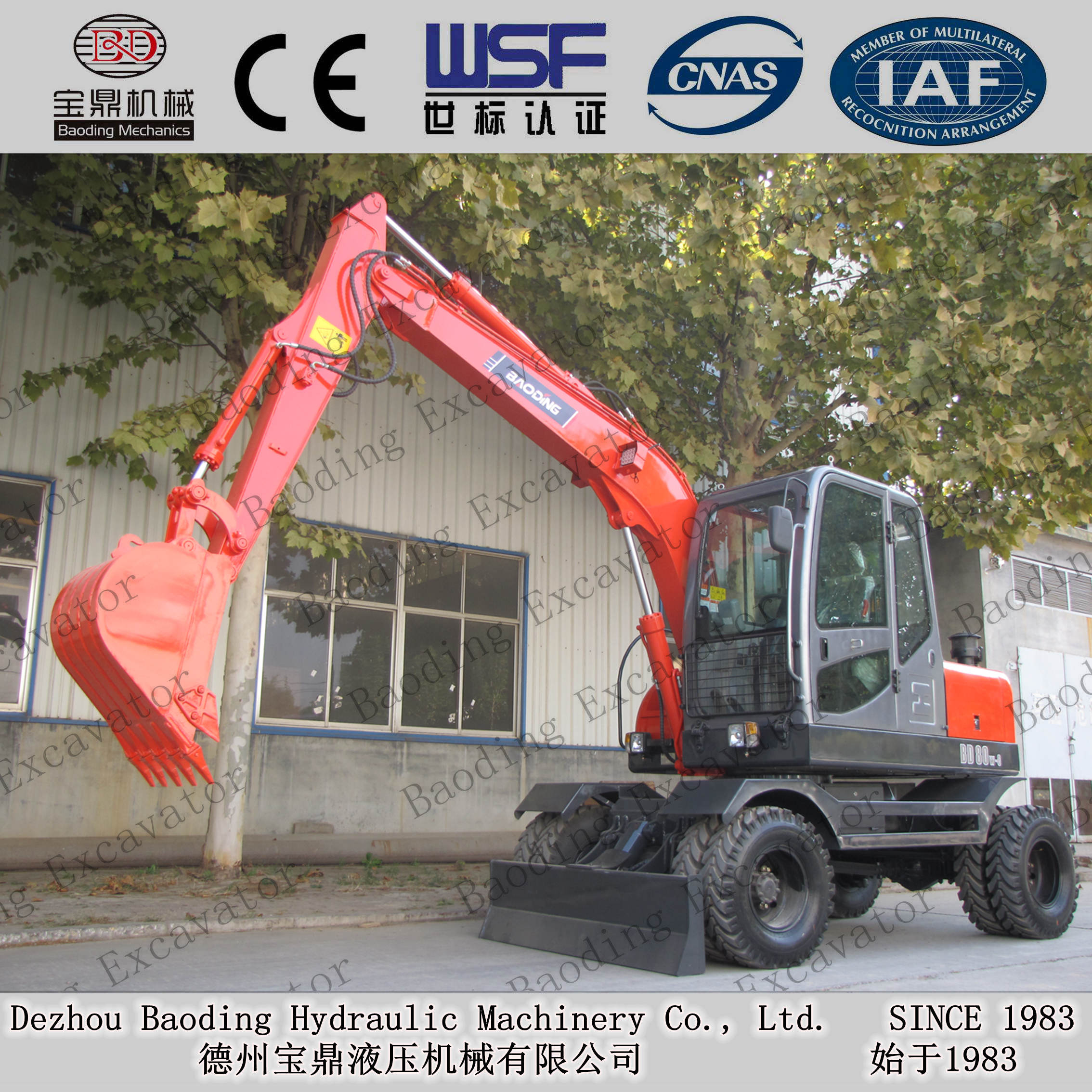 wheel excavator with grab for catching wood machine