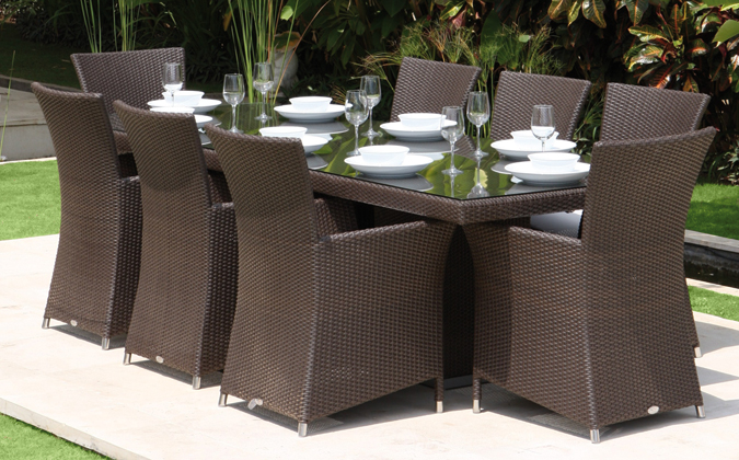 2017 Aluminum Frame New Design Rattan Dining Table And Chair.