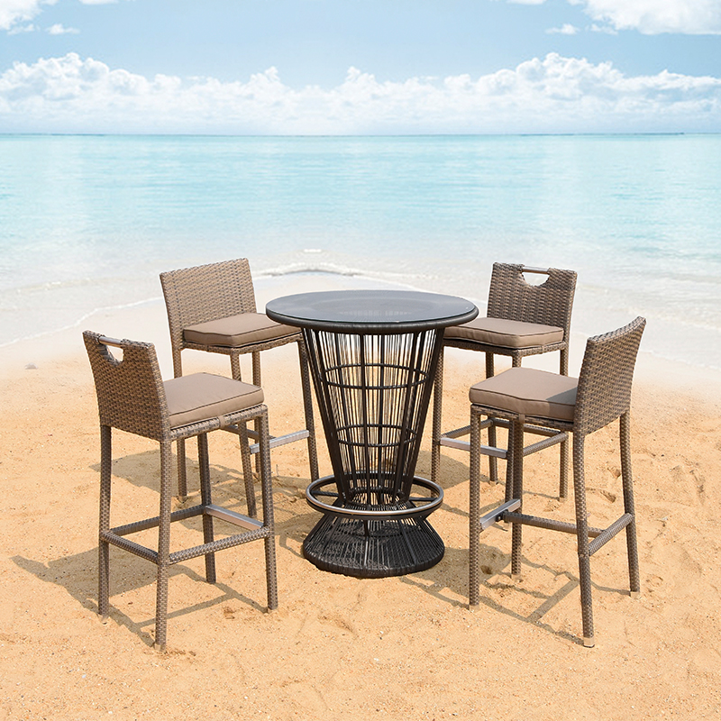 leisure PE rattan weave 4 bar stools and 1 round glass top hotel table set