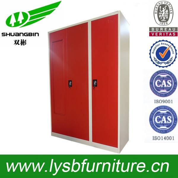 Red colour 3 door steel wardrobe