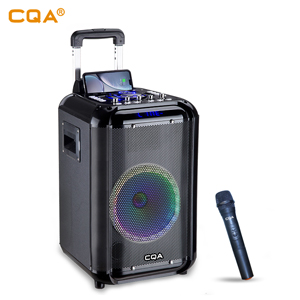 CQA new ideas 10 inch wood speakers trolley speaker with phone Wireless charging party LED light