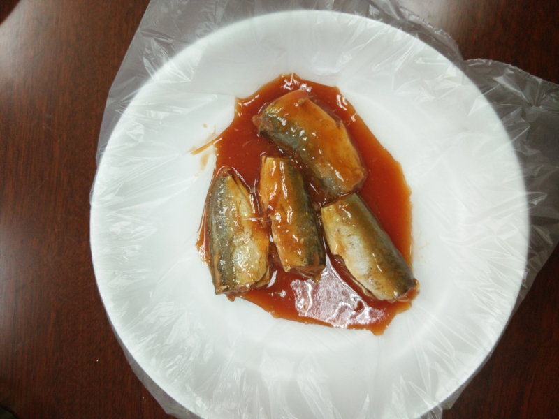 canned Jack Mackerel in tomato sauce(155g/93g),canned fish manufatcurer, cylinder can, hal