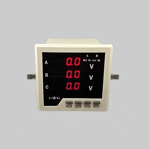 Digital programmable LED three phase volt digital meter with upper and lower limit alarm, RS485