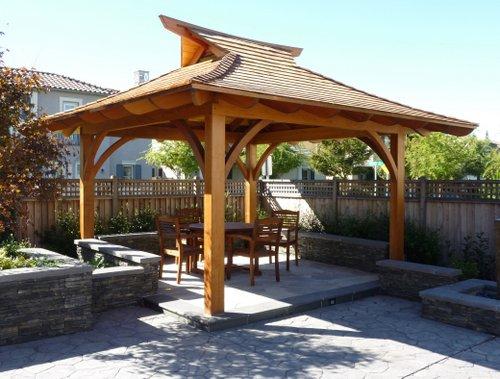 prefabricated outdoor garden wood pavilion