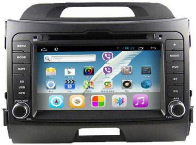 Rungrace Quad Core 16GB Android 4.4.4 Double DIN Car Stereo with DVD GPS Navigation Radio for KIA Sp