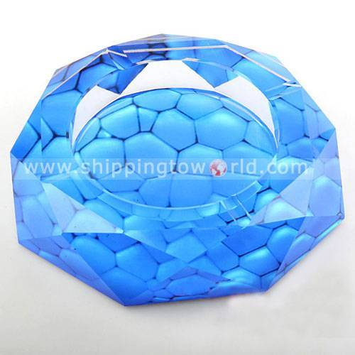 Delicate Bllue Sea World Crystal Ashtray,The Water Cube Handiwork Crystal Decoration
