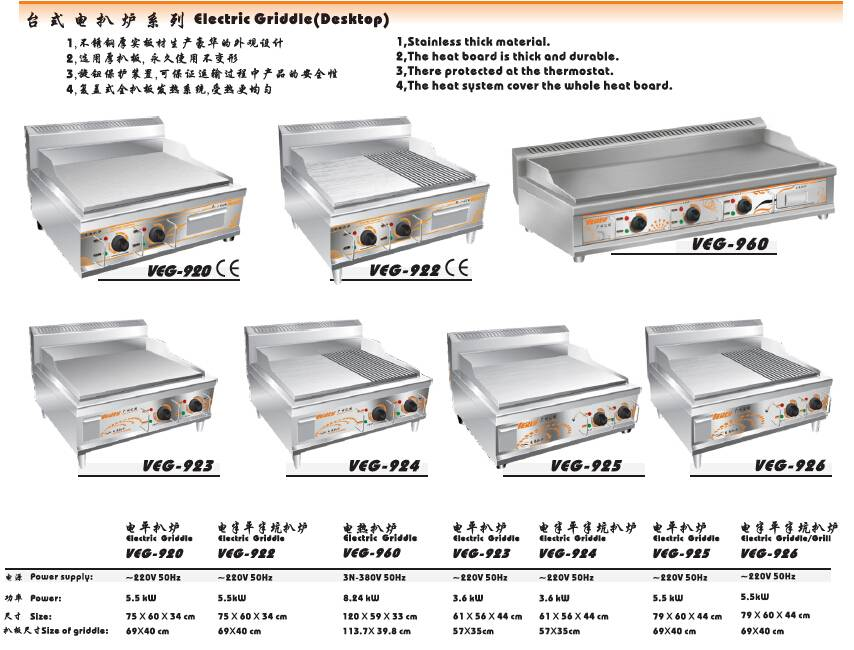 Catering Kitchen equipment/hot sale CE certificate Stainless steel Electric griddle