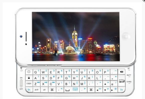 Ultra-Thin Slide-Out Wireless Bluetooth Keyboard for iPhone 5 5G - Black/White
