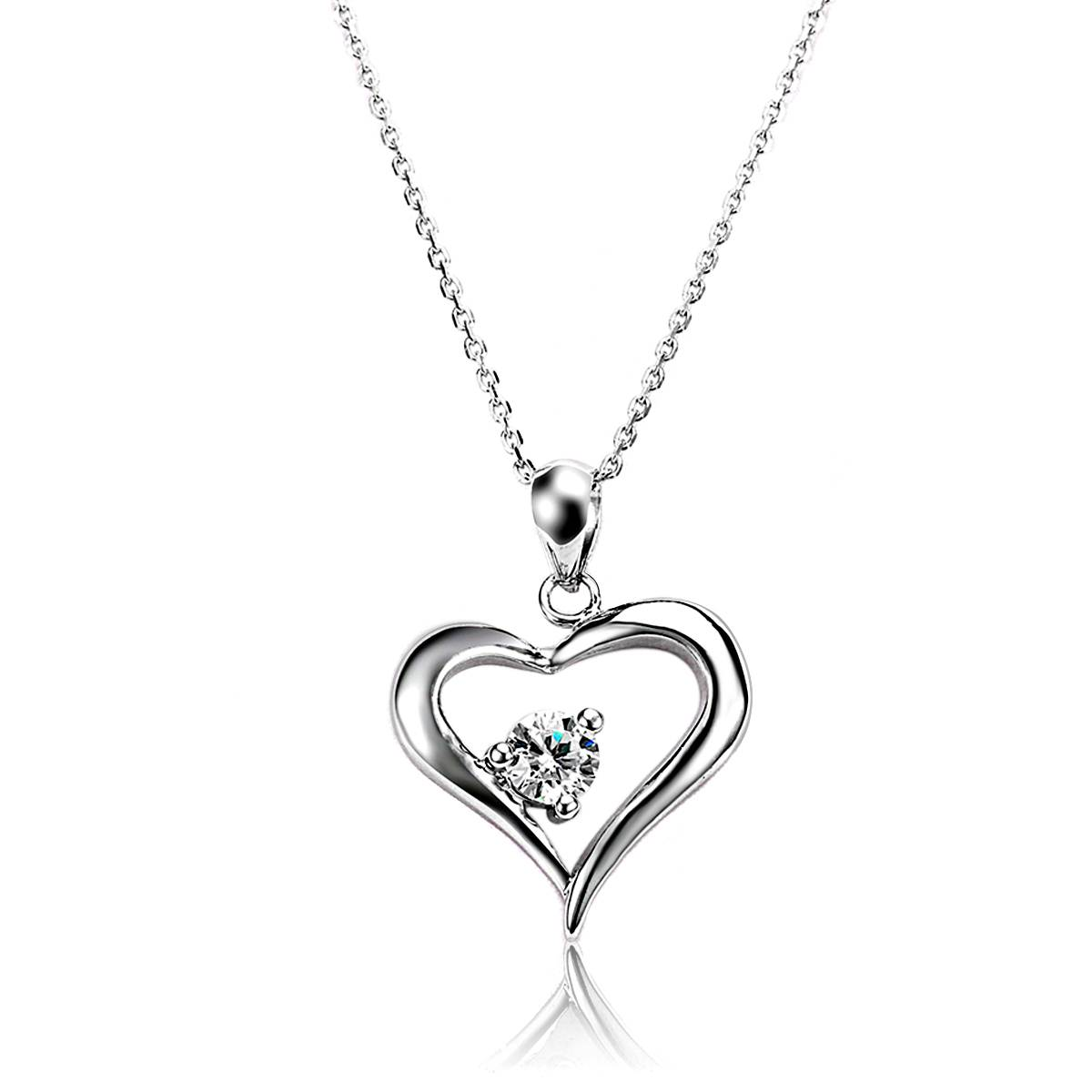 Wholesale 925 Silver Pendant Necklace with Clear White AAA Cubic Ziron Prong Setting Jewelry Pendant