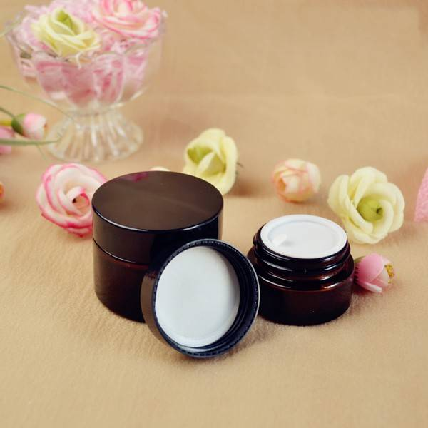 30ml amber glass cosmetic jar with lid and inner seal