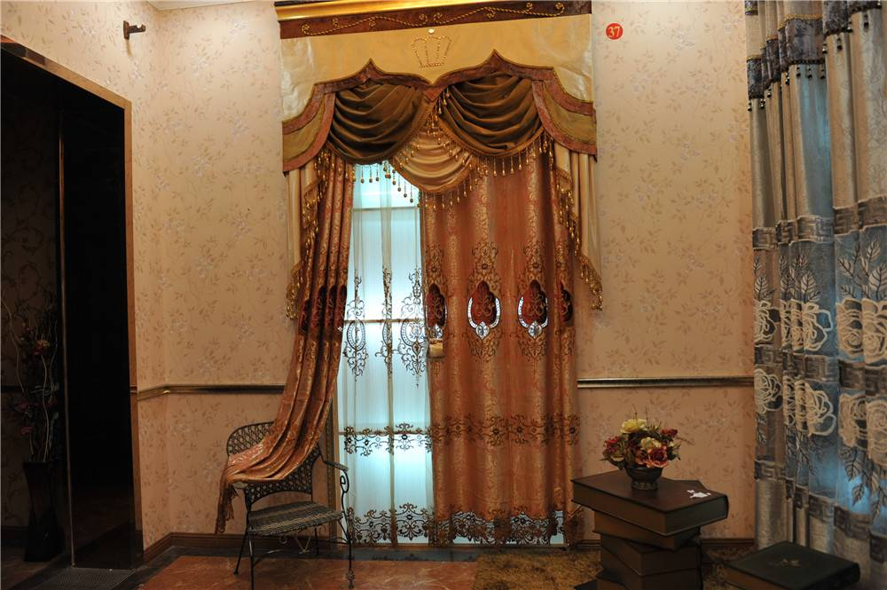 Customize luxury embroidered curtains matching with the same pattern screening voile or gauze or tu