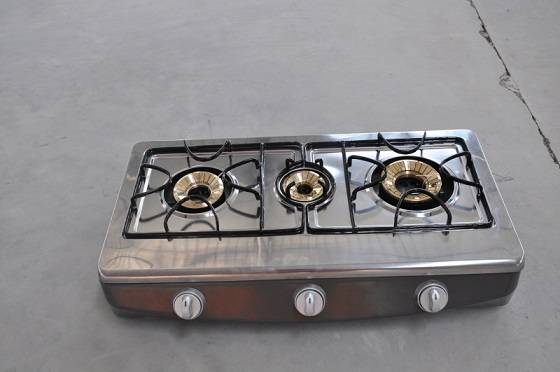 stainlees steel  3 burner gas cooker
