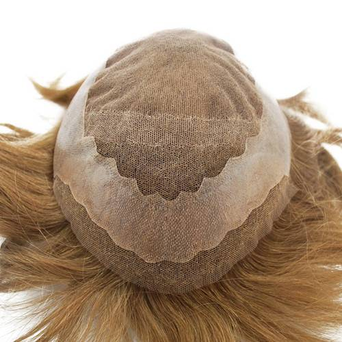6# Dark brown French lace with PU all around Bleached knots in front Men's toupee