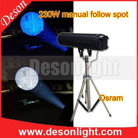 230W manually chasing follow spot light stage lighting LED wedding tracker FS-230