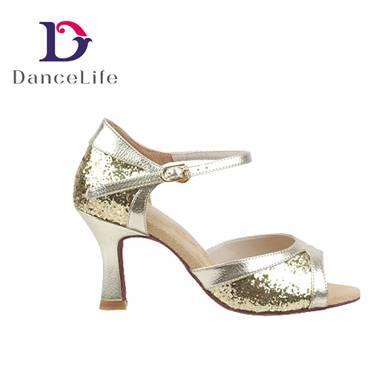 Shiny ballroom dance shoes