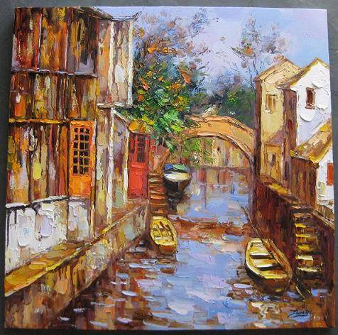 Street View Impression Oil Painting Wall Gallery Framed Art