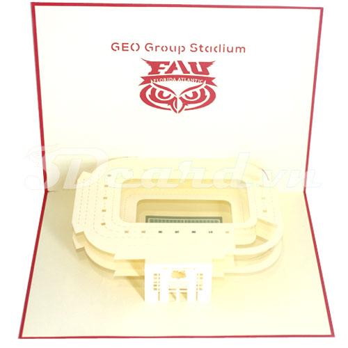 Geo Group Stadium-Kirigami-Origamic-Laser cut-Paper cutting-3D-Pop up-Birthday-Stadium card