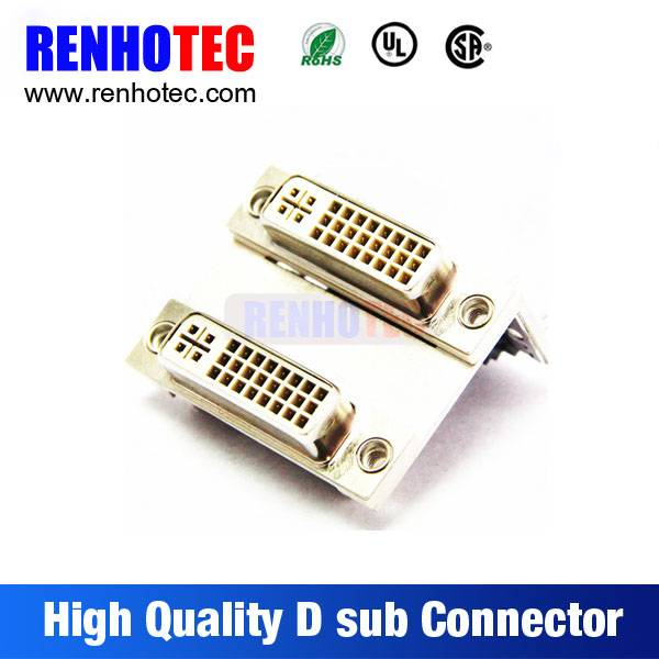 White Housing VGA PCB Mount 90 Degree Solder Dual in Line Ports Positive Pole 8 Pin D-Sub Connector