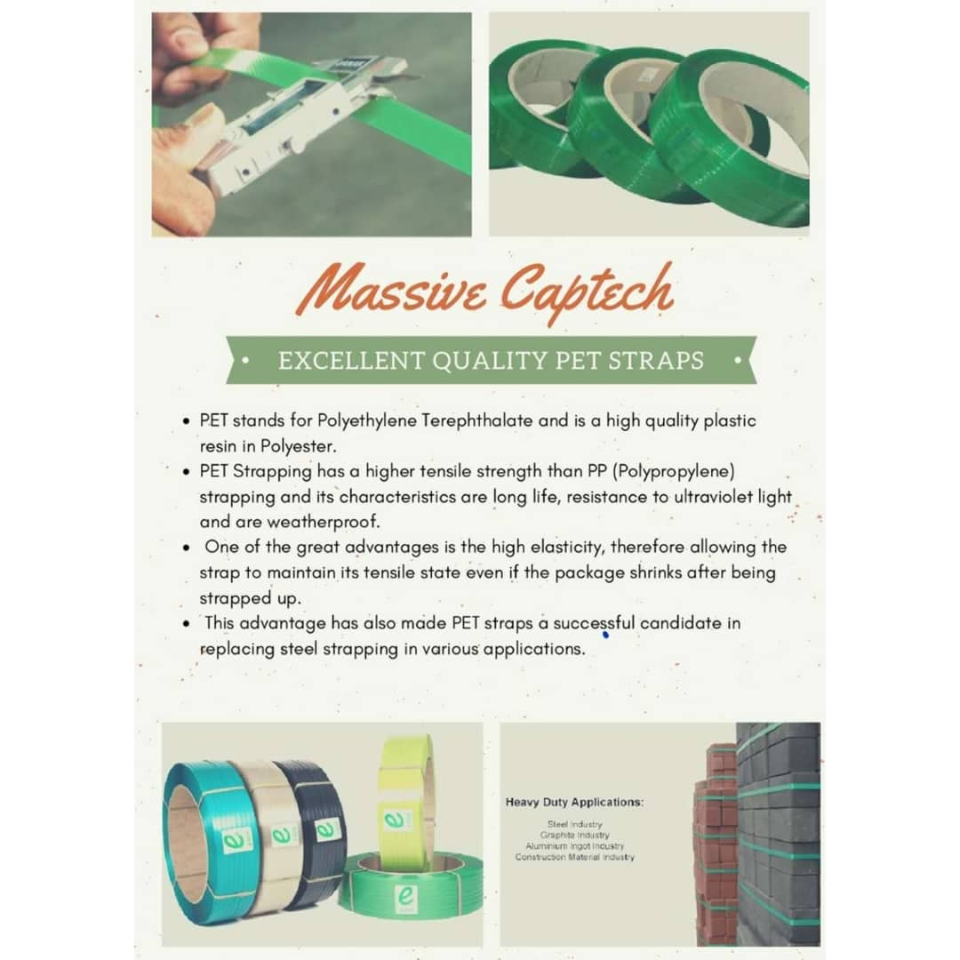 Polyester (PET) strap for industrial packaging