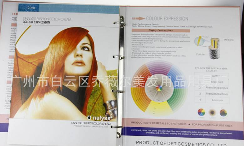 Cosmetic OEM hair color chart hair dye color mixing chart hair color chart
