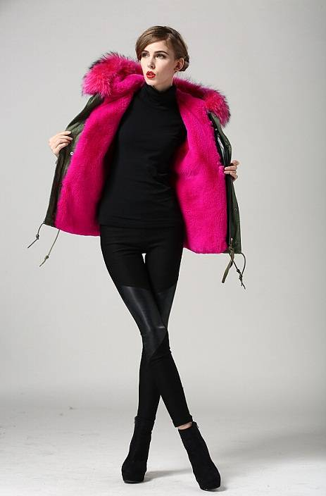 Wholesale faux jacket with real raccoon hooded