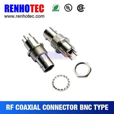 Straight BNC Jack Connector For Bulkhead PCB Mount