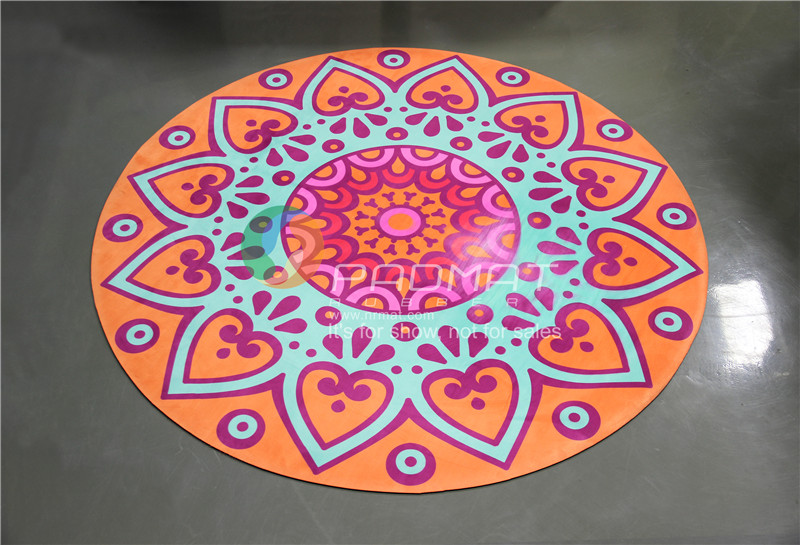 Round shape custom printed yoga mat, natural rubber yoga mat supplier