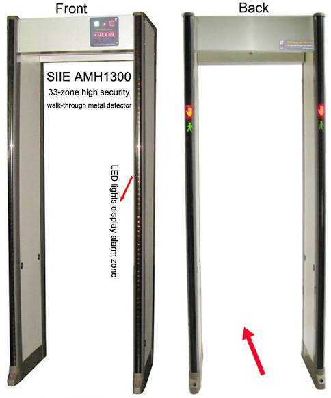 High security 33-zone walk-through metal detector door, walk through detector gate