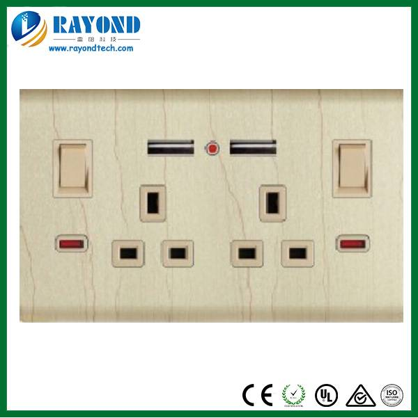Brushed Aluminum Wood Pattern Faceplate Dual USB Charging British Standard Electrical Switched Wall