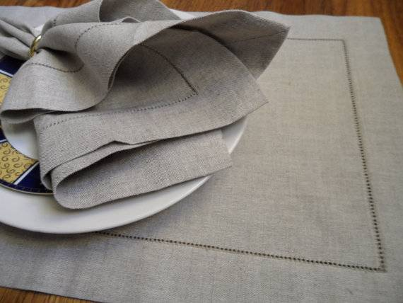 Hemstitched natural linen table dinner napkin