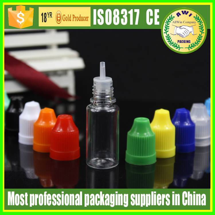 10ml PET e liquid dropper bottle with child resistant cap