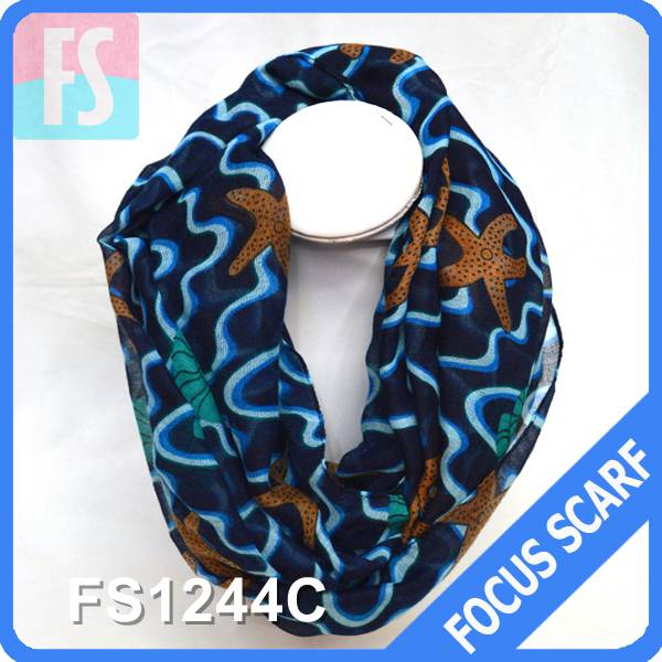 100% polyester starfish print women infinity scarf