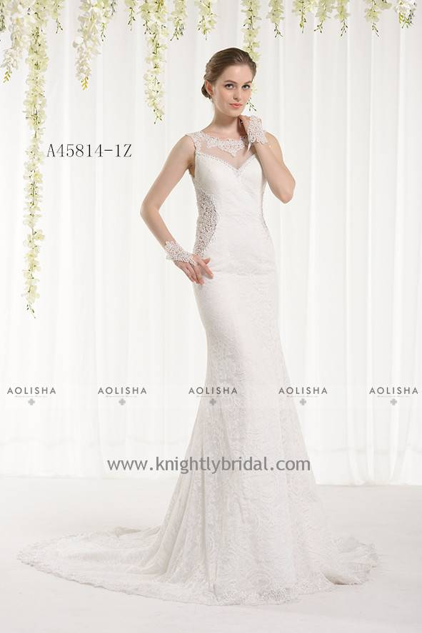 Lace Applique Beaded V-Neck Sleeveless WEDDING DRESS