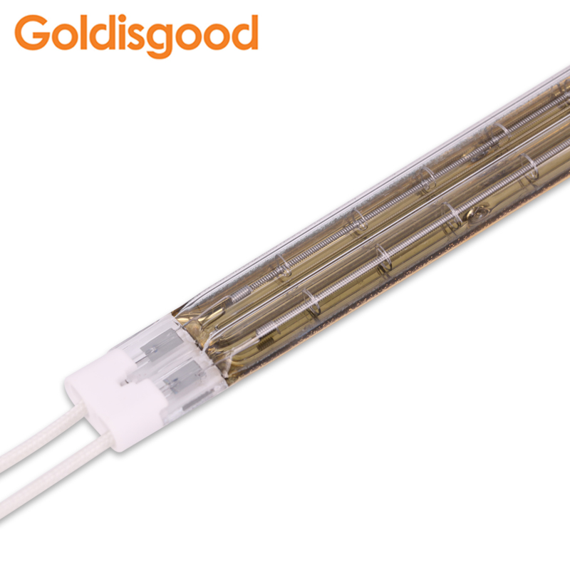 Infrared halogen lamp double tube gold plated 4500W for offset printing drying