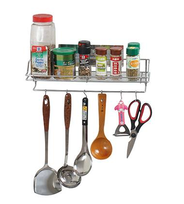 Reusable Adhesive Stainless Kitchen Accessories Shelf With 6 Hooks