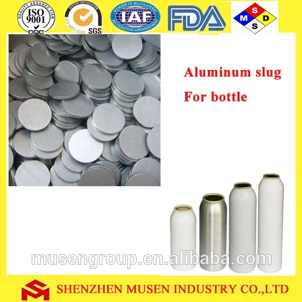 Round aluminum slugs for beer bottles
