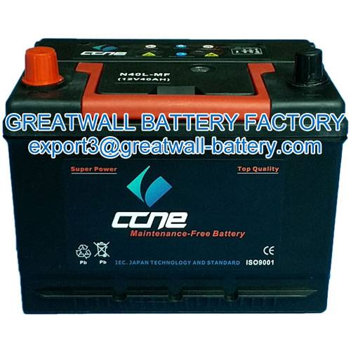 starter battery, N100, maintenance free, dry charged battery
