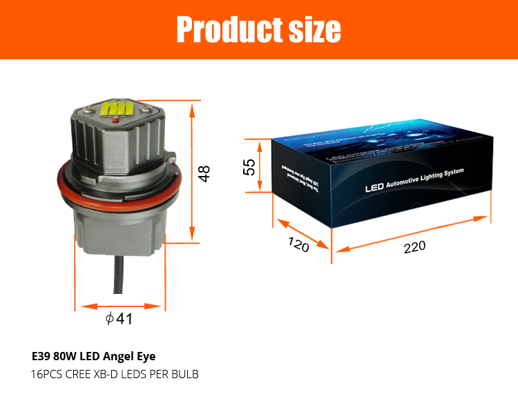 LED Marker Light Trucks E39 Auto LED Headlight 80W LED Angel Eye for BMW