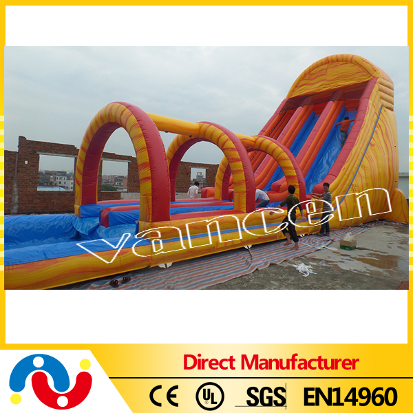 Best selling outdoor inflatable playing water slide with pool inflatable kids slide used