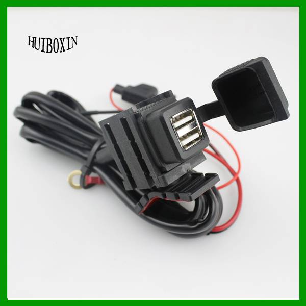 Motorcycle Mobile Waterproof Splashproof 2 USB Power Supply Port Socket Charger