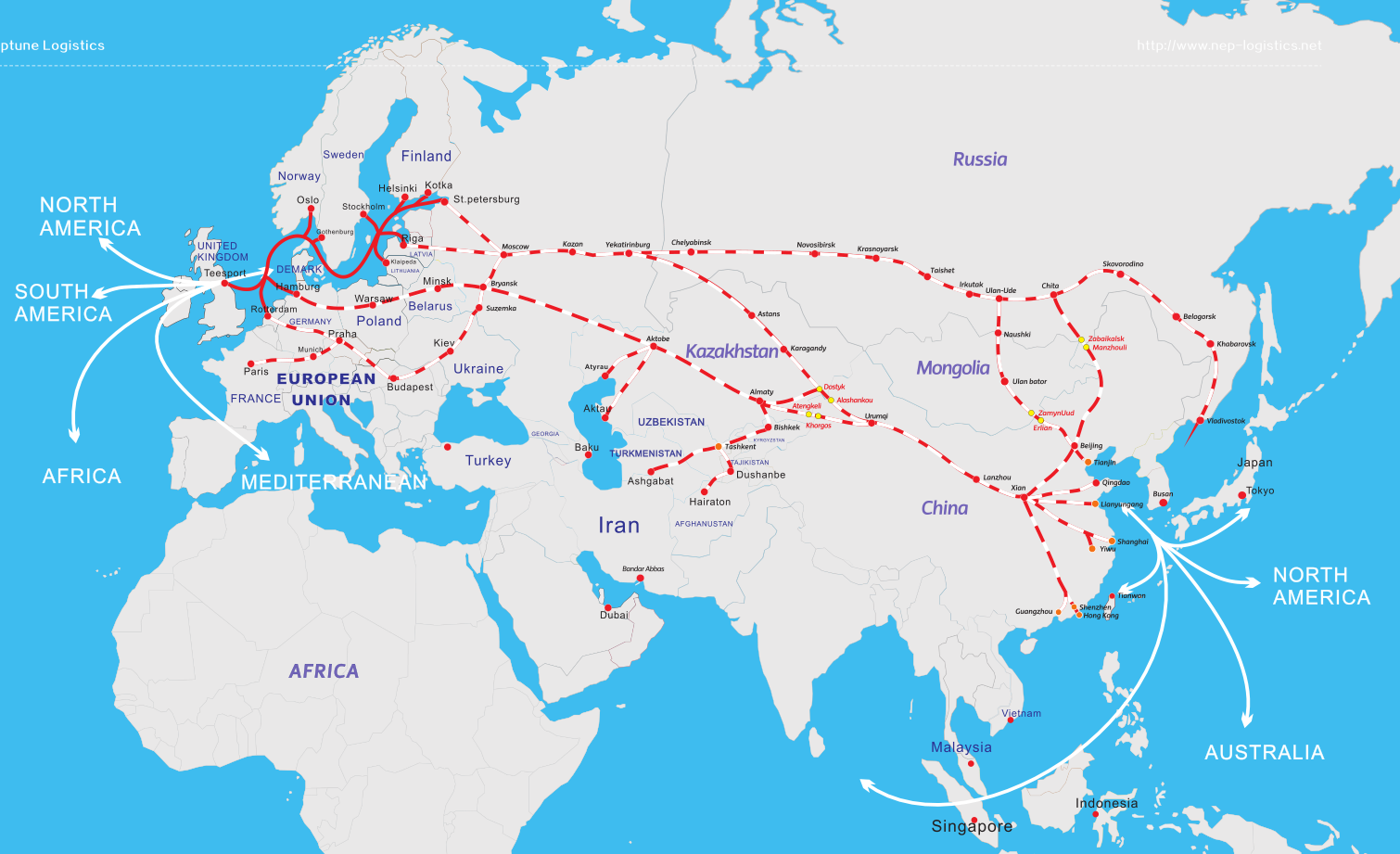 LCL railway from China to Moscow/Minsk/Warsaw/hamburg