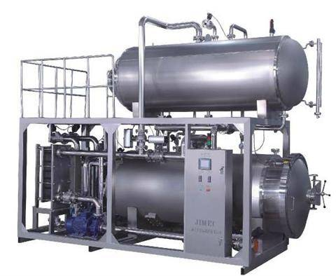 Hot water /Steam continuous sterilizer, application in cans, plastic bottle outfit & cooking bags
