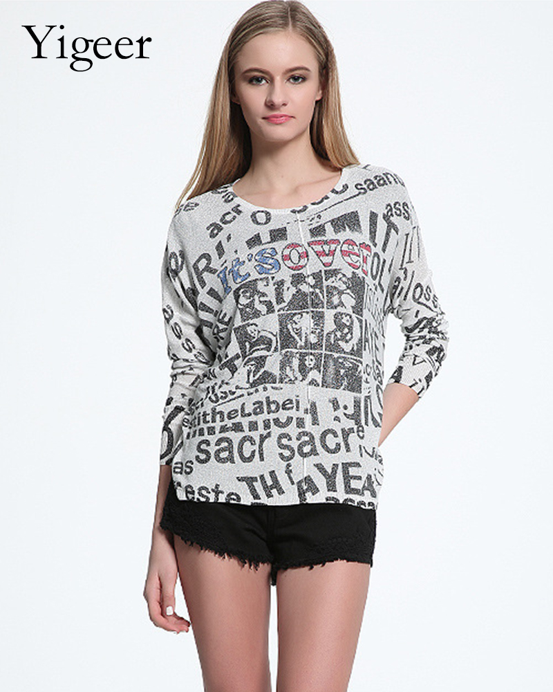 Long Sleeve Printed Word Round Neck Knitted Top Shirt