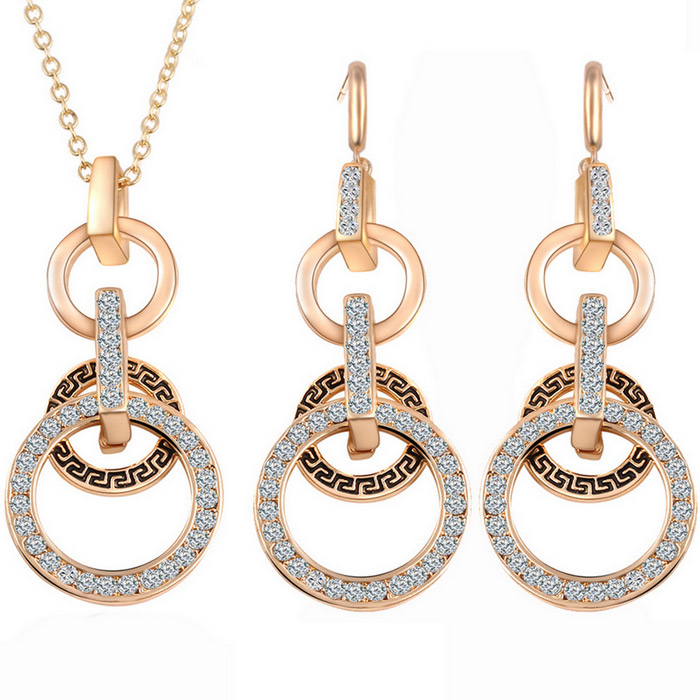 Gold Plated Alloy Ethnic Pattern Rhinestone Party Jewelry Set
