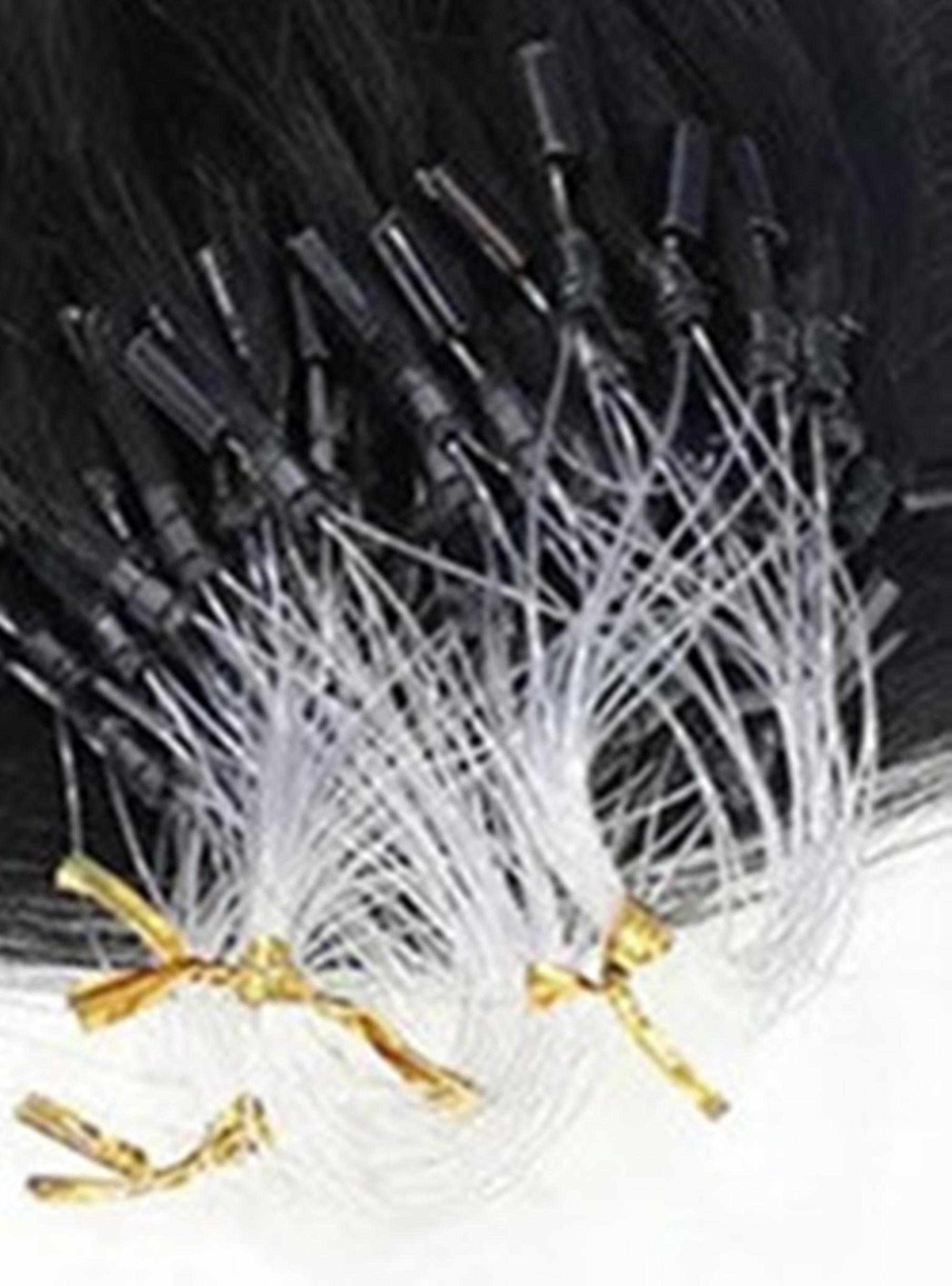 LEDON Micro Ring Loop Hair extension, Bodywave BW, Color 1B Black, 100% Human Hair Extensions