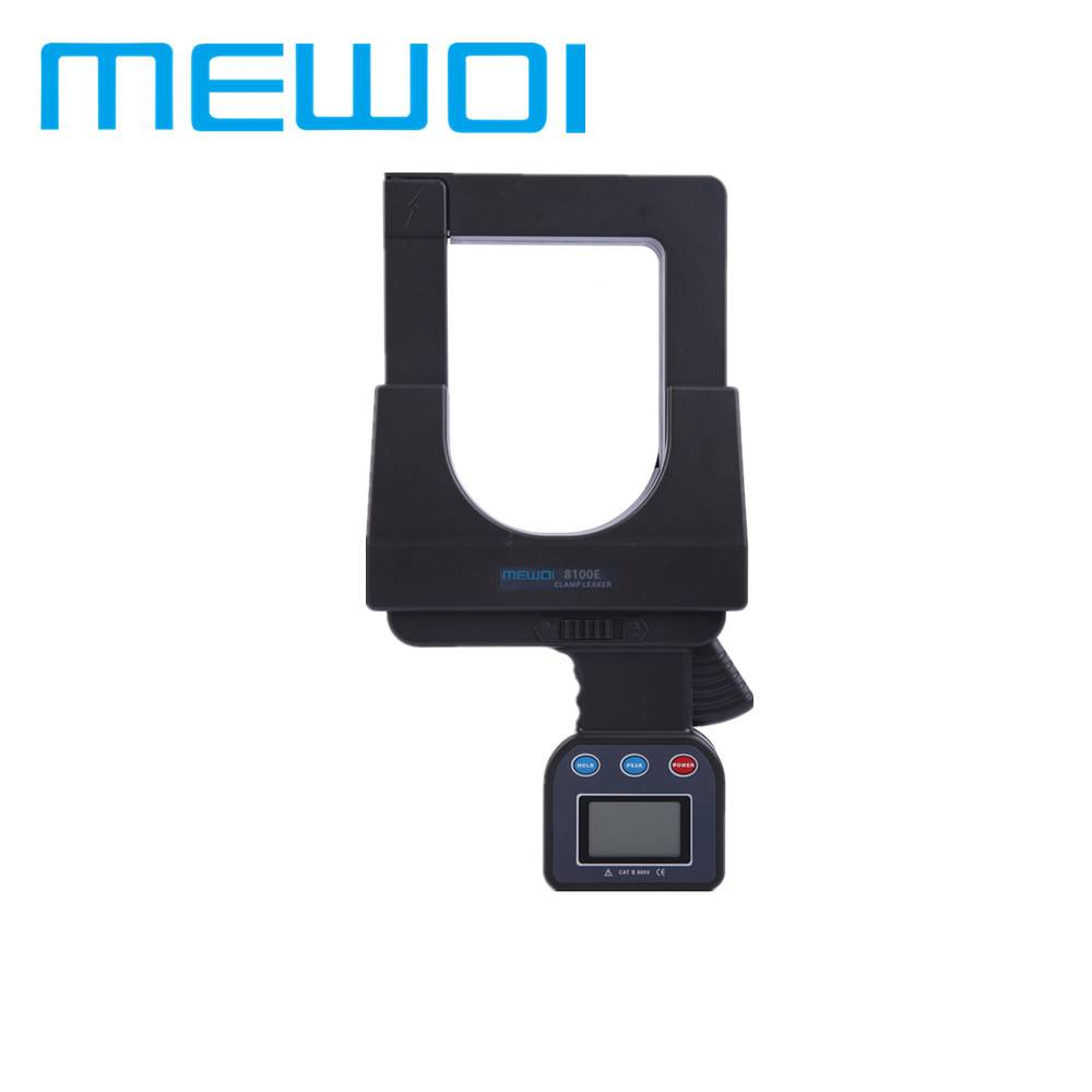 MEWOI8100E-AC 0.0A~2000A,AC 0.0A~1000A 0.00~600V Large Caliber Leakage Current Clamp Meter