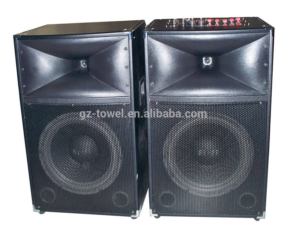 Dual 12'' subwoofer speaker box professional active stage speaker large bluetooth speaker with usb s