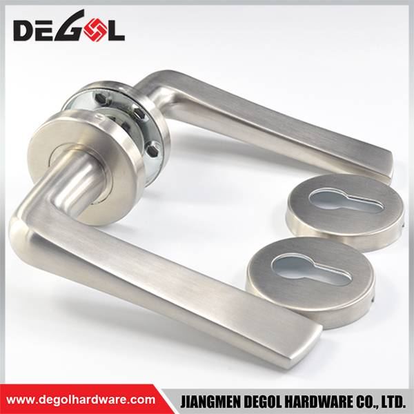 Jiangmen hardware stainless steel solid types of door lever handle on rose