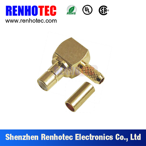 crimp type right angle SMB male connector
