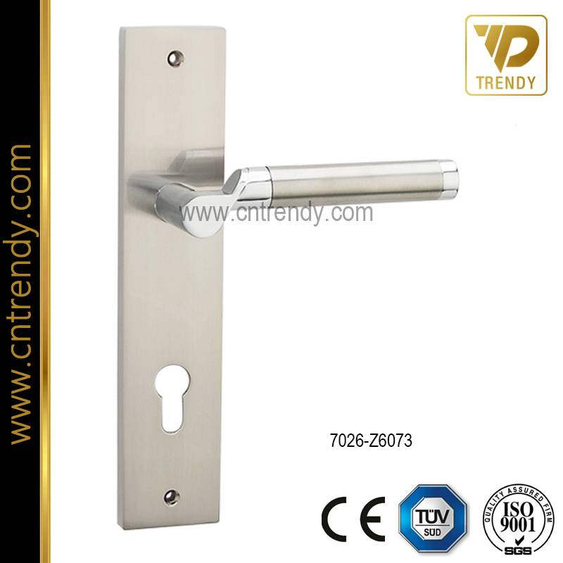 Steel Door Lock Handle with Big Plate (7026-Z6073)